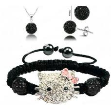 Hello Kitty Fekete Shamballa szett