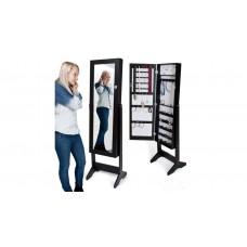 Nagy fekete ékszertartó szekrény tükrös ajtóval, stabil lábakkal