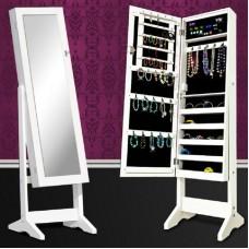 Nagy fehér ékszertartó szekrény tükrös ajtóval, stabil lábakkal