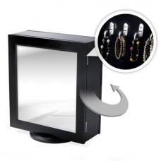 Forgatható ékszertartó  fekete kisszekrény tükörrel