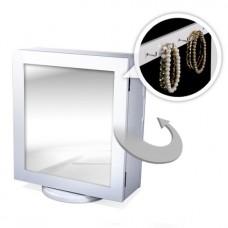 Forgatható ékszertartó fehér kisszekrény tükörrel